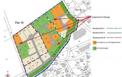 Übersicht der Grundstücke des Baugebiets mit Stand vom 19. Januar 2015